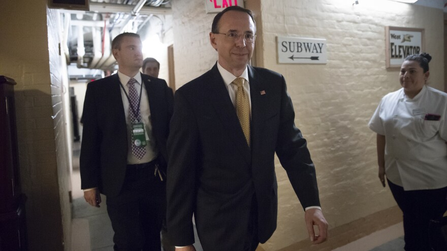 Deputy Attorney General Rod Rosenstein departs the U.S. Capitol through a basement corridor after House and Senate lawmakers from both parties met in a secure room for a classified briefing about the federal investigation into President Trump's 2016 campaign, in May.