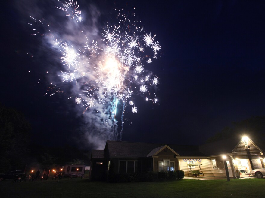 Fireworks companies in Maine are facing a steep decline in business after many July Fourth displays were called off. Here's a 2012 celebration in Scarborough, Maine.