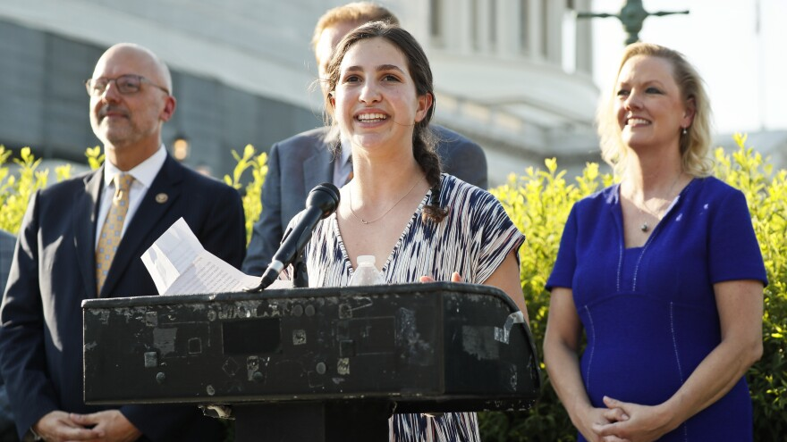 Sydney Helfand, a Maryland high school student, started a petition to back the Preventing Animal Cruelty and Torture (PACT) Act, which Congress has now approved. Helfand is seen here speaking about the bill in Washington last summer.