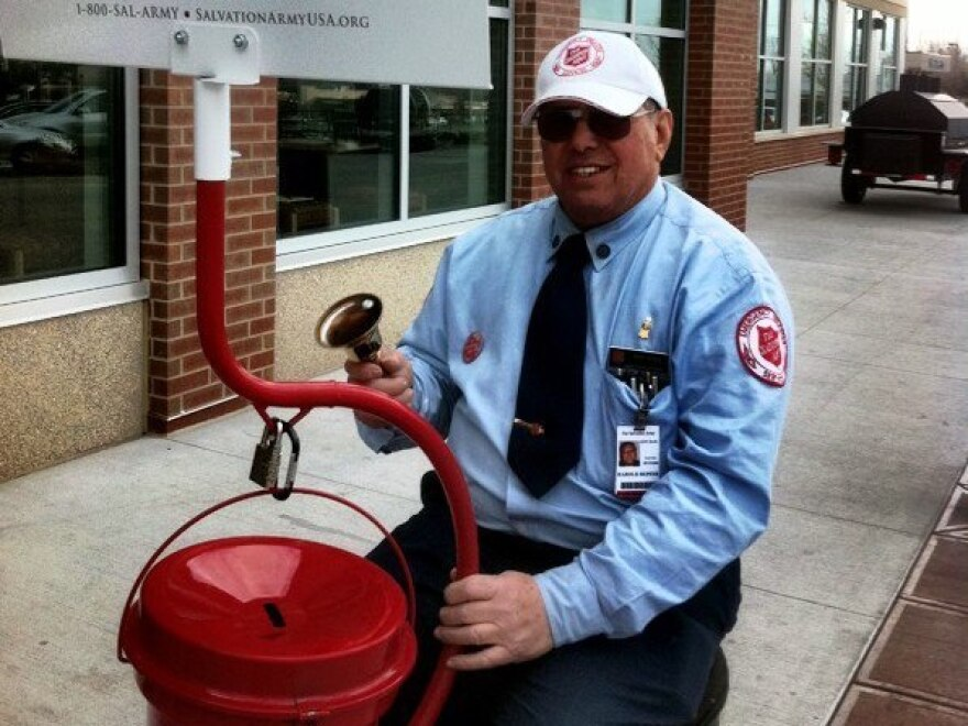 Harold Hepfer ringing his bell for the Salvation Army's red-kettle campaign a few years ago.