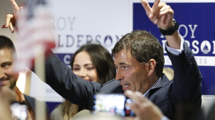 Troy Balderson, Republican candidate for Ohio's 12th Congressional District, claims victory at an election night party on Tuesday. He holds a small lead over Democrat Danny O'Connor, but the race remains too close to call.