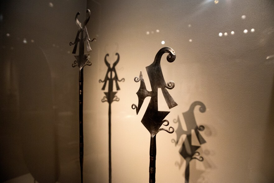 Examples of elaborate versions of knives, to be used in ritual ceremonies. They're from the Democratic Republic of the Congo, 19th century.