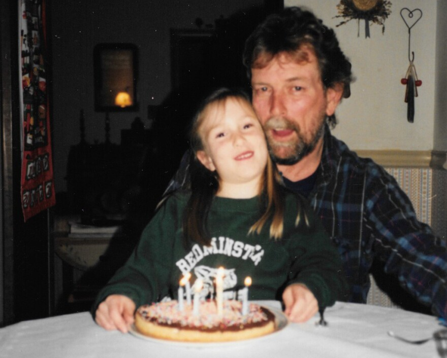 My dad and I celebrate my 6th birthday.