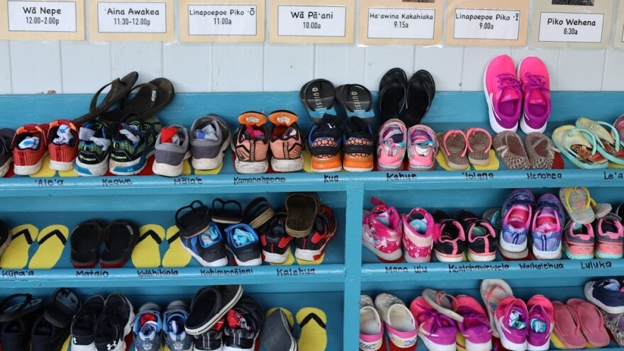 Students are required to remove their shoes before entering the classrooms at Nāwahī.