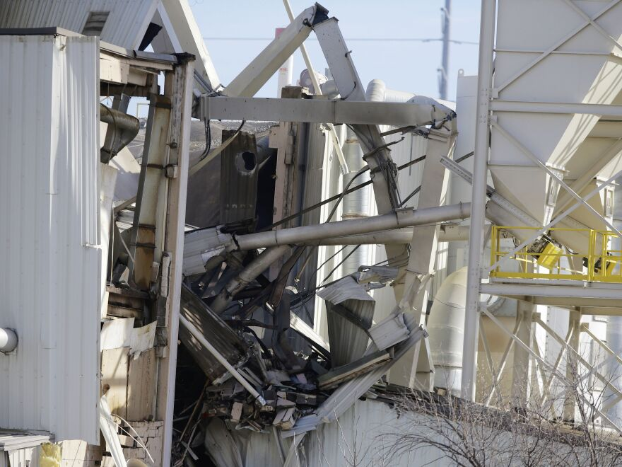 The wrecked International Nutrition plant in Omaha, Neb., where a fire and explosion took place on Monday.
