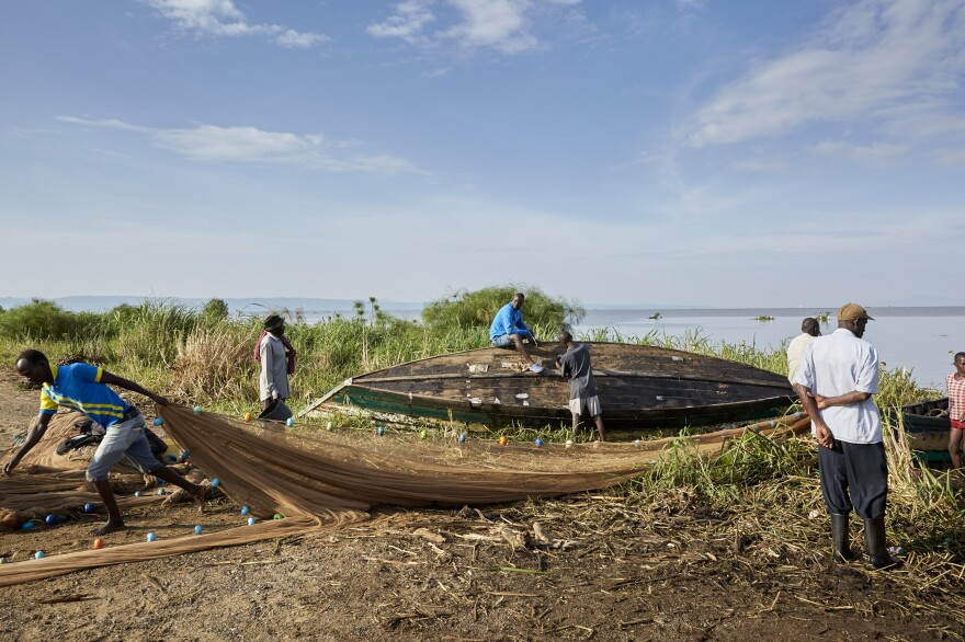 Fishermen on Lake Victoria face many risks in their rudimentary boats, including rough weather, crocodiles and hippos.