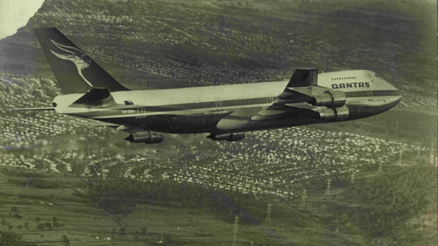 "Qantas' first Boeing 747B, the Jumbo Jet, named the ""City of Canberra"" arriving in Sydney from the U.S. on Aug. 16, 1971."