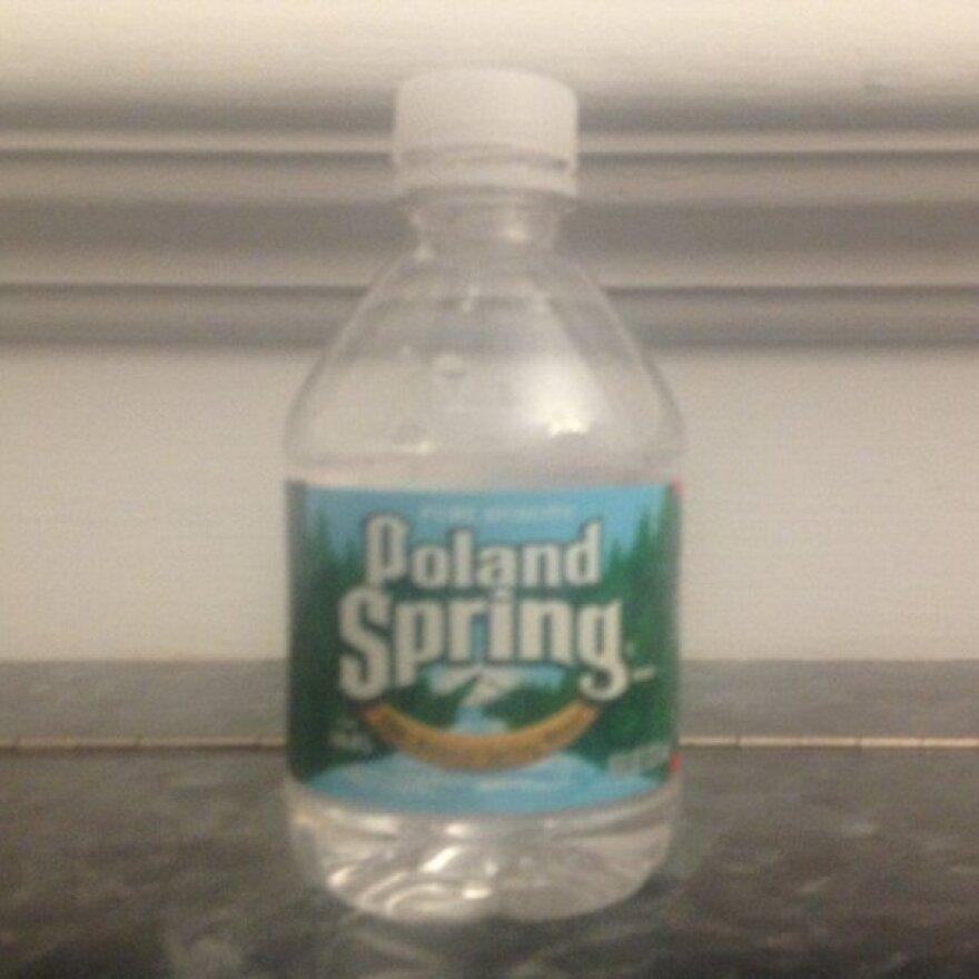The senator's water bottle. (He tweeted this image after his address.)