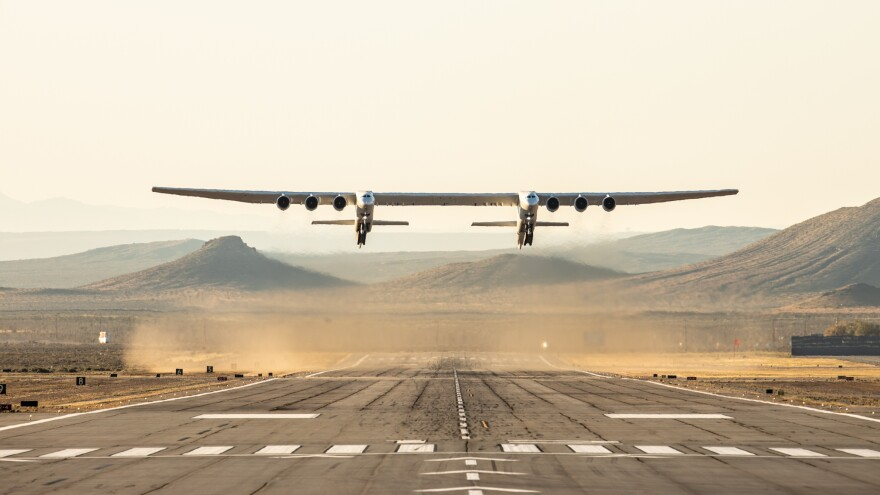 The Stratolaunch — the world's largest plane by wingspan — took its first flight on Saturday above the Mojave Desert in California.