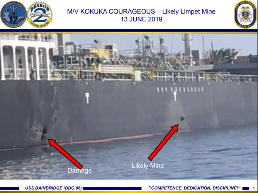 A photo released by U.S. Central Command allegedly shows damage to the tanker Kokuka Courageous from Iranian limpet mines.