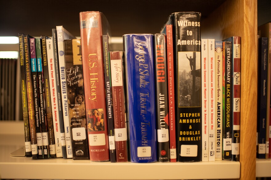 Books are seen in the library on August 11, 2021 at University City High School in University City, Missouri.