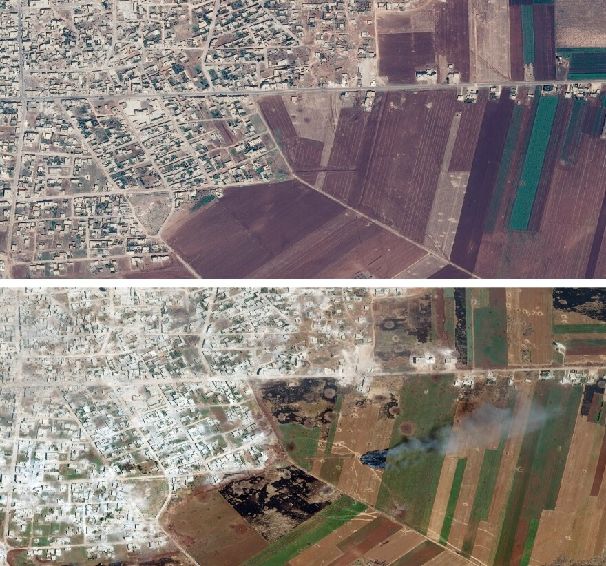 Satellite images released by Save the Children show an undisclosed area in Idlib province in July 2018 (top), and after apparent aerial bombardment in May 2019.