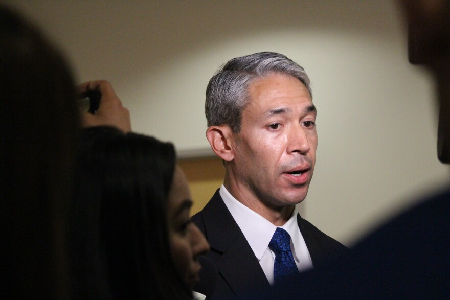 Mayor Ron Nirenberg addresses the public at a press conference on March 16.