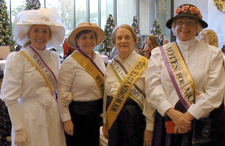 Reenactors in period costume at the recent Suffrage Centennial event at the West Virginia Culture Center