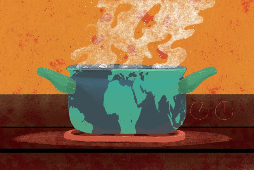 Climate change Earth, boiling pot of water