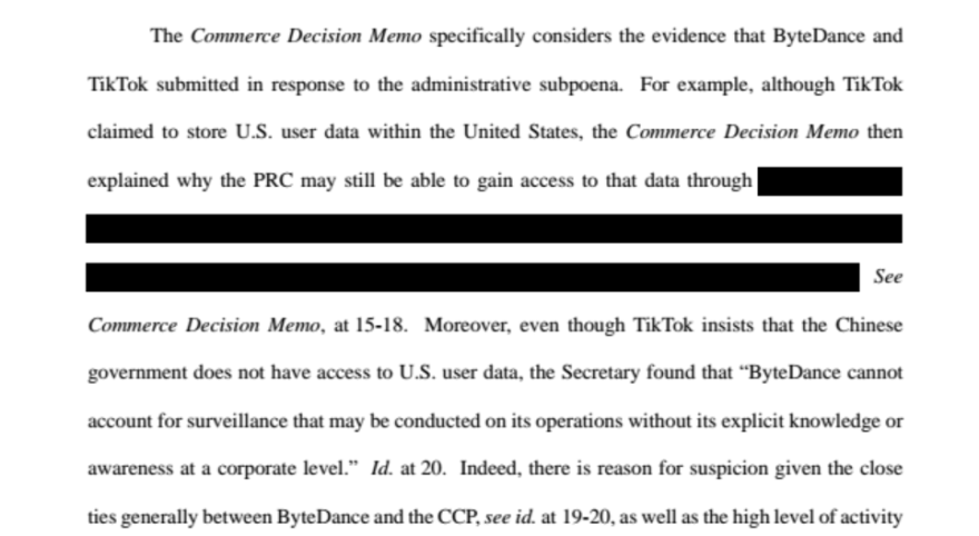 The Justice Department's federal court filing in response to TikTok's lawsuit seeking a preliminary injunction to block Trump's ban from taking effect.