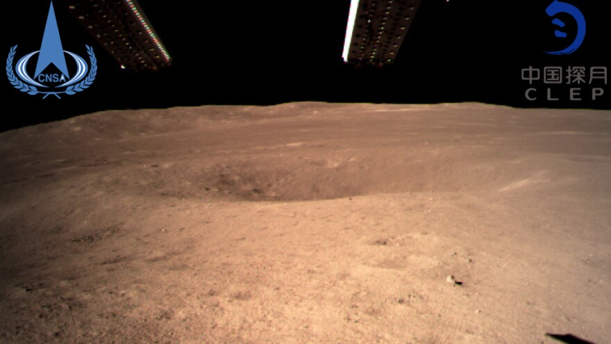 This photo, provided by China National Space Administration via Xinhua News Agency, is the first image of the moon's far side ever taken from the surface. A Chinese spacecraft on Thursday made the first landing on the far side of the moon, state media said.