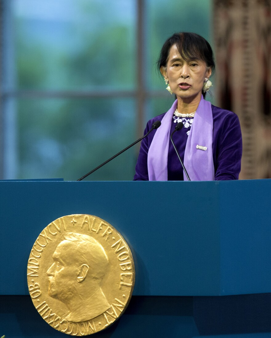 Nobel Peace Prize laureate Aung San Suu Kyi gives her acceptance speech in Oslo, Norway, on Saturday. The Burmese opposition leader was awarded the prize two decades ago.