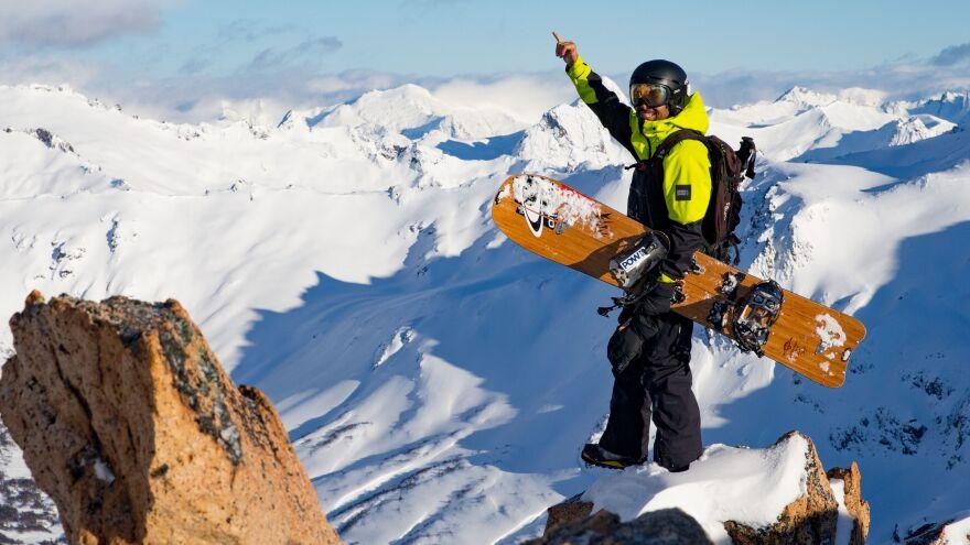Jones on a peak with a Jones Hovercraft splitboard.