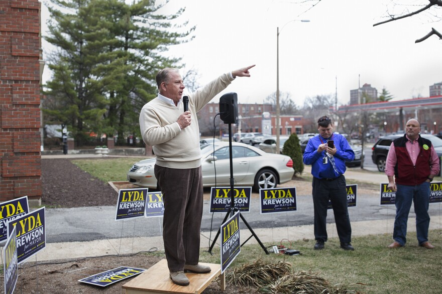 Gregory F.X .Daly, collector of revenue, speaks at a campaign rally for Lyda Krewson in February 2017.