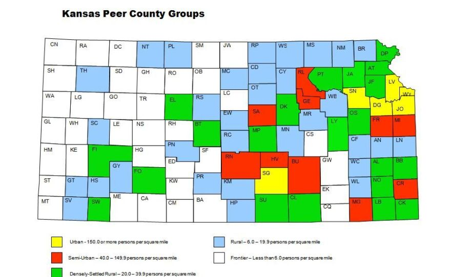 A map of Kansas, showing counties categorized by population density