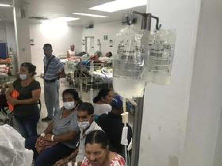 Venezuelan medical refugees waiting in a hospital emergency room in the Colombian border city of Cucuta this year.