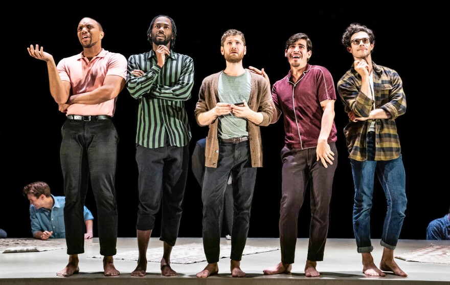 Jordan Barbour, Darryl Gene Daughtry Jr., Kyle Soller, Arturo Luís Soria and Kyle Harris in <em>The Inheritance.</em>