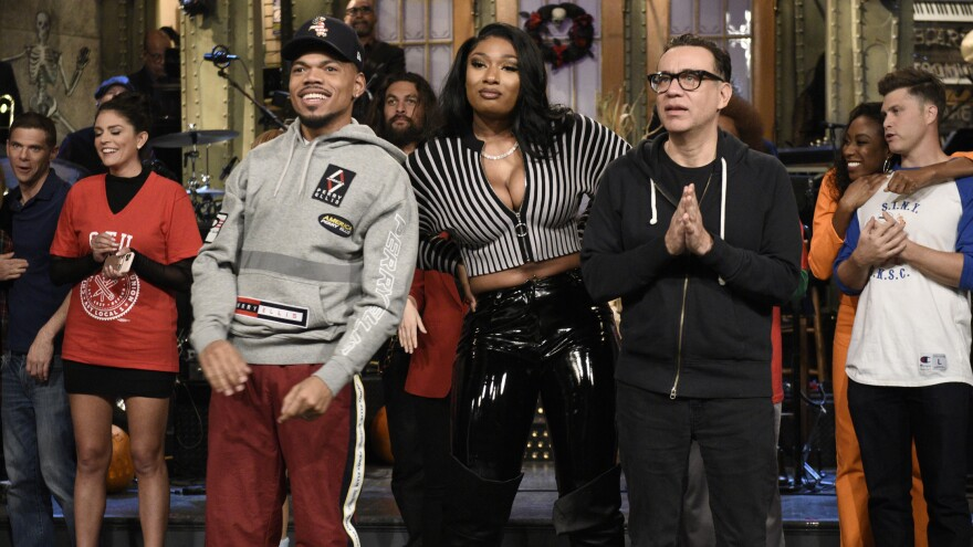 """SATURDAY NIGHT LIVE — """"Chance The Rapper"""" Episode 1771 — Pictured: (l-r) Host Chance The Rapper, Megan Thee Stallion, and Fred Armisen during Goodnights & Credits on Saturday, October 26, 2019 — (Photo by: Will Heath/NBC/NBCU Photo Bank via Getty Images)"""