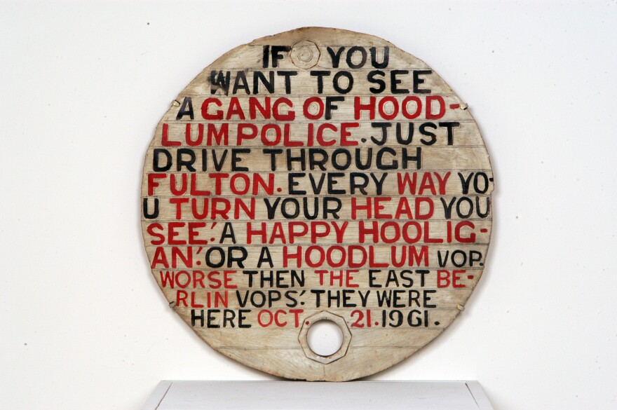 Jesse Howard,<em> Untitled (If You Want to See a Gang of Hoodlum Police)</em>, 1961.