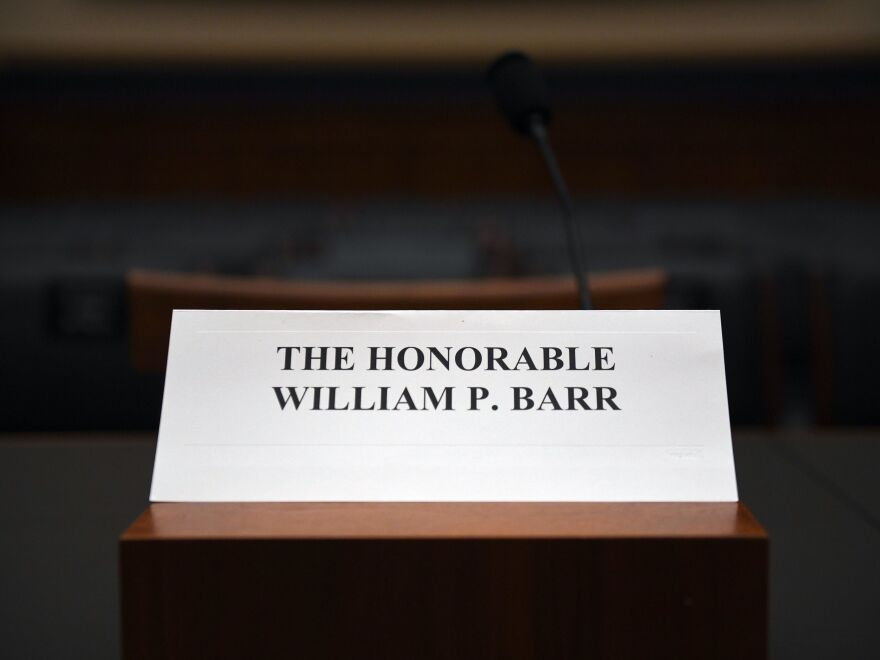Attorney General William Barr's place sits empty at the House Judiciary Committee room on Capitol Hill in Washington, D.C., on Thursday. Barr has refused to testify before the committee hearing on his handling of the report from special counsel Robert Mueller on Russian interference in the 2016 U.S. presidential election.