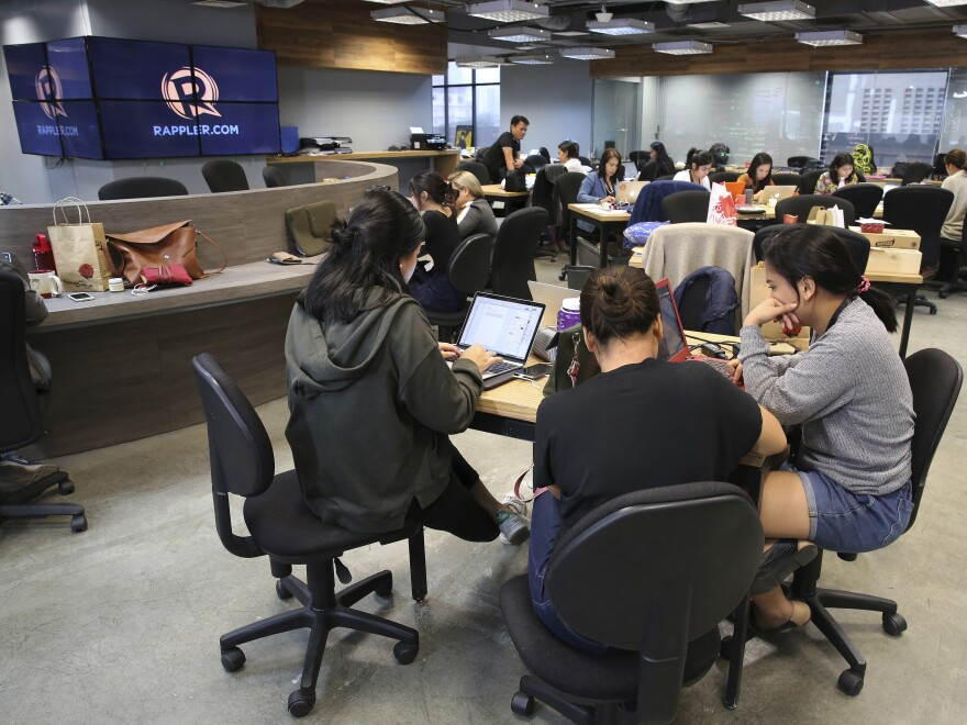 Employees of Rappler, an online news outfit known for its critical reporting on Philippine President Rodrigo Duterte, continued to work in their office in Manila on Tuesday. The Philippine Securities and Exchange Commission revoked Rappler's corporate registration this week.