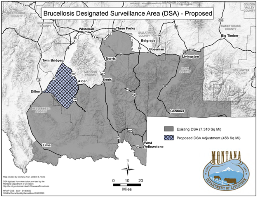 A map of the proposed surveillance area provided by the Montana Department of Livestock May 18, 2020.