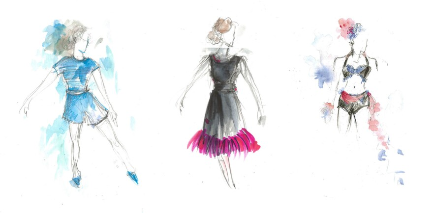 Three different sketches by Donna Zakowska show (from left), Midge Maisel's exercise outfit, a formal dress for Midge to wear in Miami and an outfit for one of the performers at the USO Show, which kicks off Season 3.