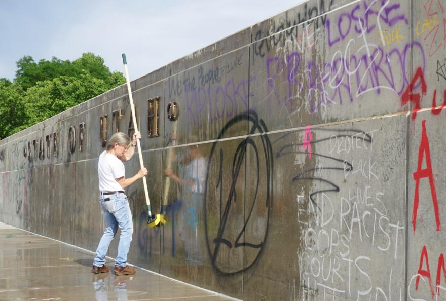 Graffiti cleanup at the Utah Capitol.