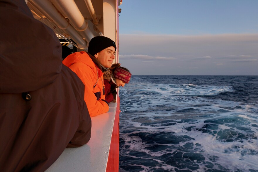 Sam Cornish (in orange) is a PhD student studying ocean physics at the University of Oxford.
