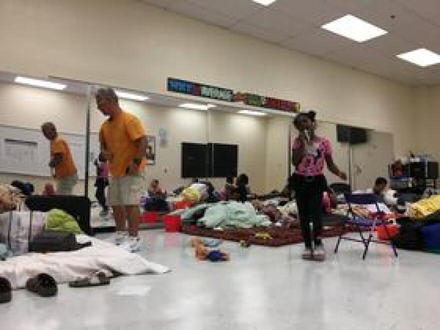 Residents take shelter in Broward County's Falcon Cove Middle School during Hurricane Irma in September.