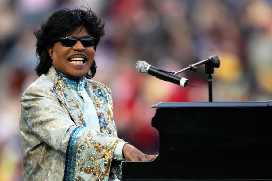 Little Richard performs during a halftime show at the Liberty Bowl in Memphis, Tenn., on Dec. 31, 2004.