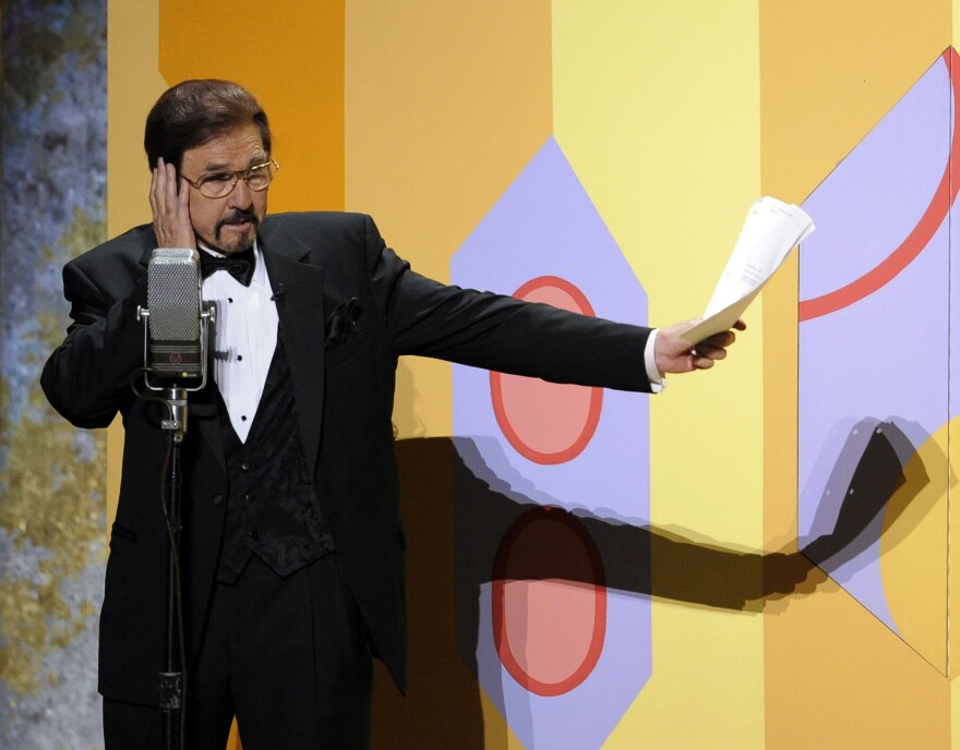 "Gary Owens performs in a skit at the 60th Primetime Emmy Awards in Los Angeles in 2008. Owens, best known for announcing ""Rowan and Martin's Laugh-In,"" died on Thursday."