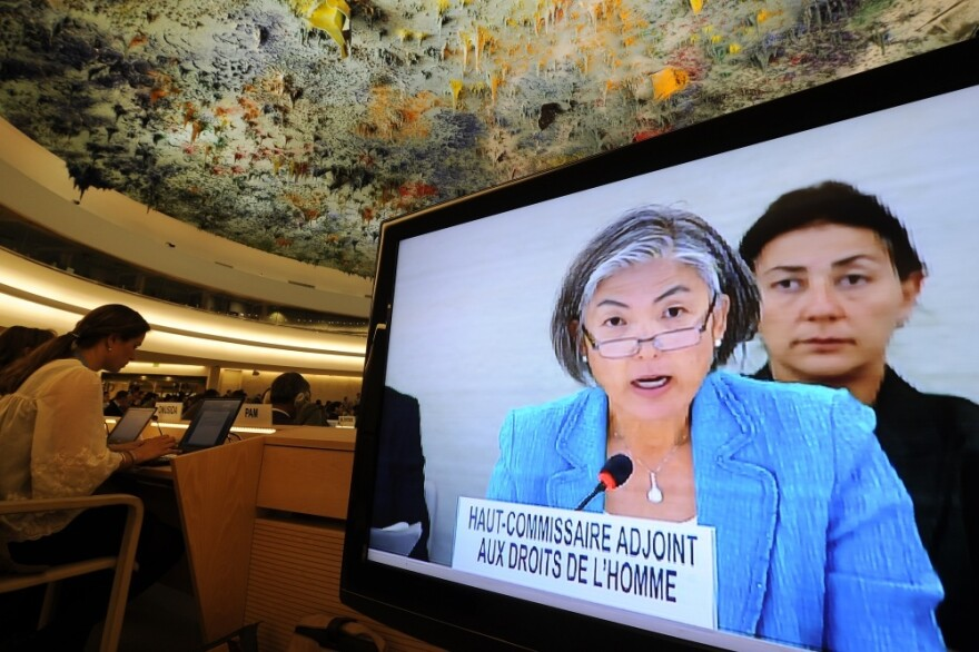 Deputy High Commissioner for Human Rights Kyung-Wha Kang of Korea speaks during a special session of the UN Human Rights Council in Geneva Friday. The council agreed to launch an urgent investigation into Syria's bloody crackdown on protests.