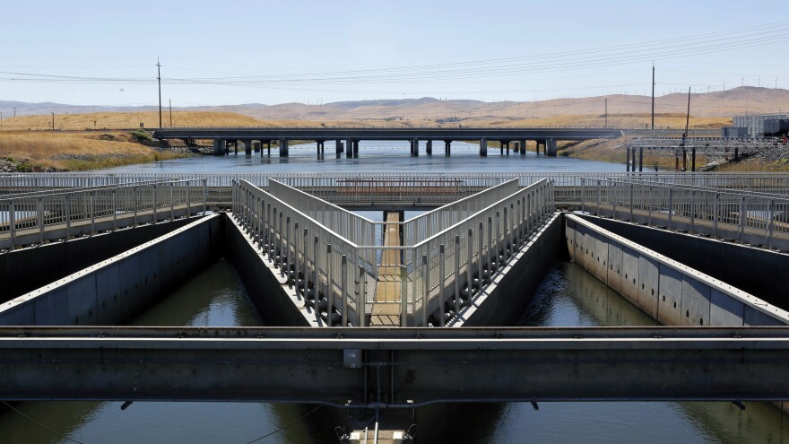 Diversion facilities like this one help protect endangered fish in California. Environmentalists say a Trump administration plan would weaken those protections to divert water to the state's farmers.