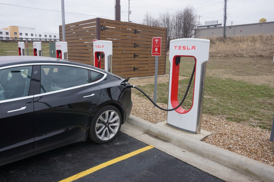 Advancements at Missouri S&T could make charging electric cars, like this Tesla at a charging station in Rolla, cheaper, faster and safer.