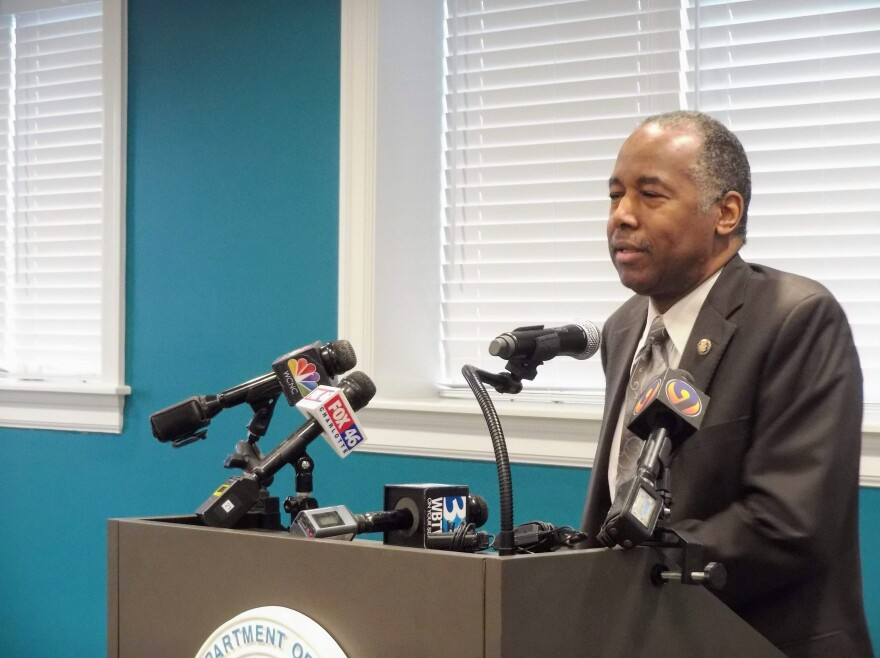 Housing and Urban Development Secretary Ben Carson discusses proposed fair housing rules changes Tuesday at Renaissance West.