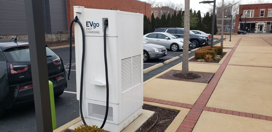 An electric vehicle charging station in the 3100 block of S. Grand Boulevard as seen on January 14, 2021