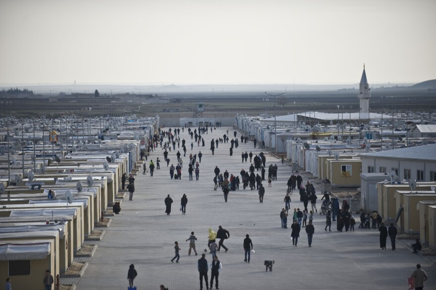 Syrian refugees are seen at Elbeyli accommodation facility in Kilis, Turkey.