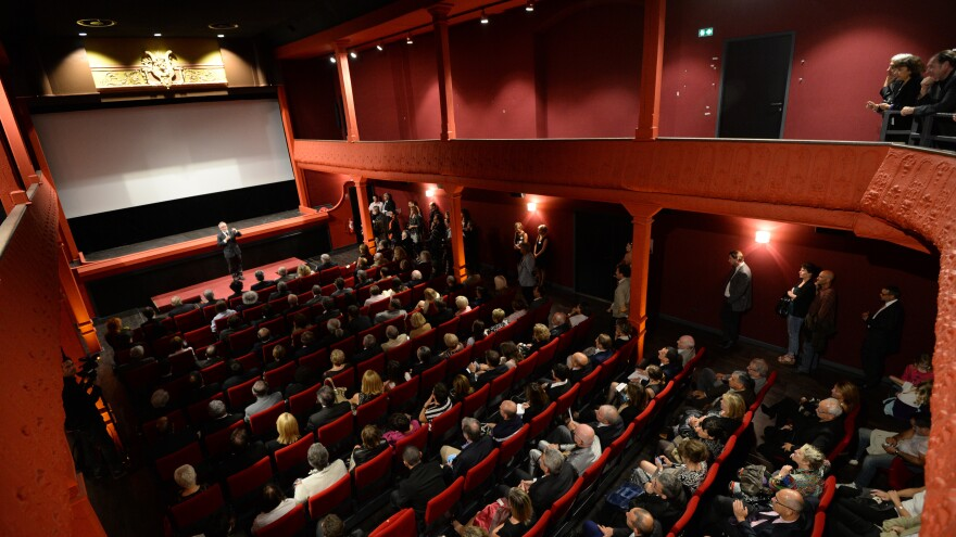 Cannes film festival director Thierry Fremaux gives a speech at the Eden's official re-opening in 2013.