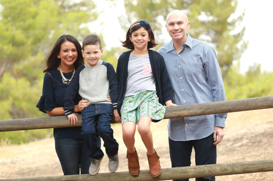 "Gaby Gemetti decided to leave the workforce after having her second child. In March she started a ""returnship,"" a new type of program to recruit and retrain women like her who are looking to resume their careers. Here, Gaby and John Gemetti are seen with their children, Carlo and Gianna."
