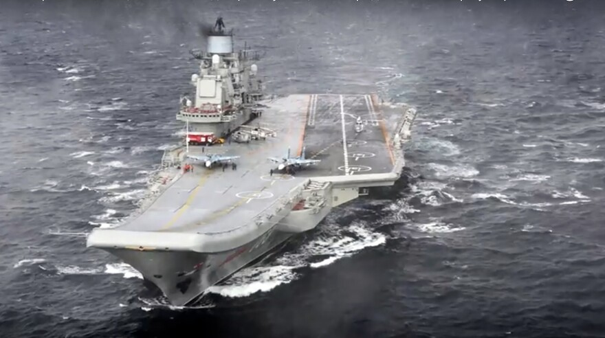 Russian says its Admiral Kuznetsov aircraft carrier will leave Syria first.