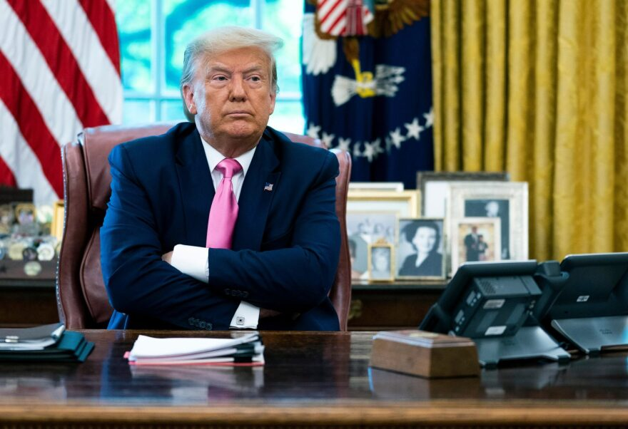 U.S. President Donald Trump talks to reporters while hosting Republican Congressional leaders and members of his cabinet in the Oval Office at the White House.