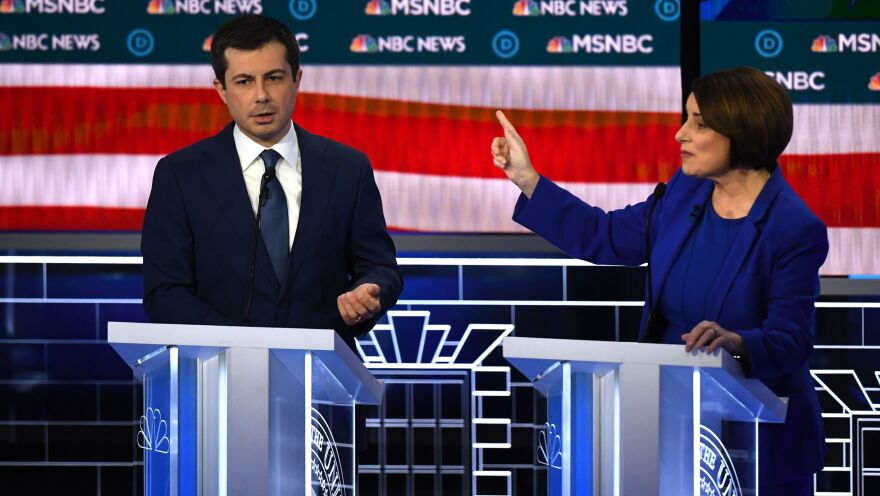 Pete Buttigieg and Amy Klobuchar tussled during the ninth Democratic primary debate on Wednesday in Las Vegas.