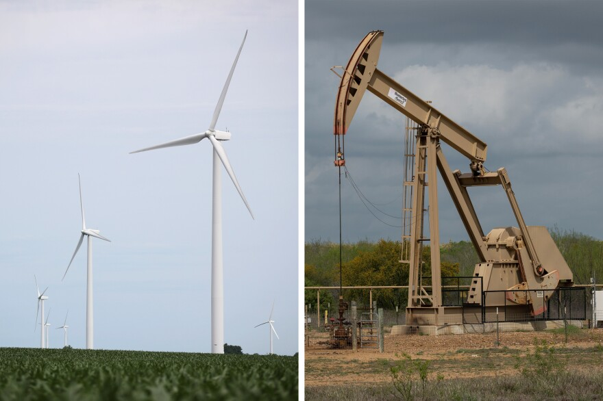 Wind turbines near Dwight, Ill. and a pump jack in Cotulla, Texas. The presidential candidates have opposing views on the future of U.S. energy.